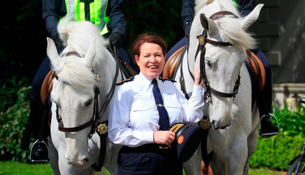 Nóirín O'Sullivan during a schools event for students who entered policing-related projects into the 2017 BT Young Scientist Exhibition at Farmleigh House, Dublin, yesterday Photo: Gareth Chaney, Collins