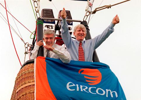 Eircom executives Gerry O'Sullivan and Alfie Kane used a hot-air balloon to promote the sell-off of the State phone company in 1999 Photo: Photocall