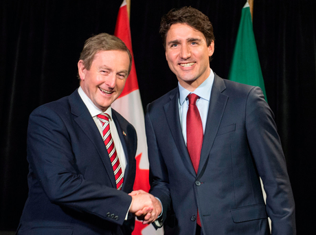 Enda Kenny (l) with Canadian Prime Minister Justin Trudeau Photo: Paul Chiasson/The Canadian Press via AP