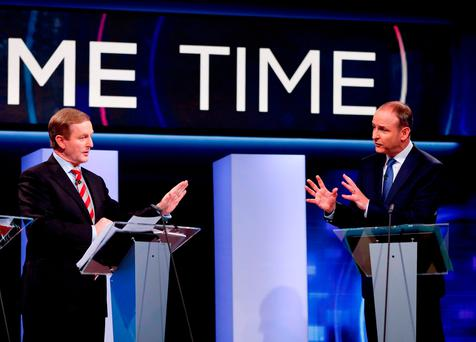 Taoiseach Enda Kenny and Fianna Fáil leader Micheál Martin during the last TV debate on RTE's 'Prime Time' before the general election in 2016 Photo: Tony Maxwell/PA Wire