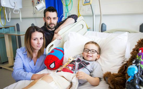 Newlyweds Lee and Coleen Finlay with their son Spencer in Belfast on May 5th 2017 (Photo - Kevin Scott / Belfast Telegraph)