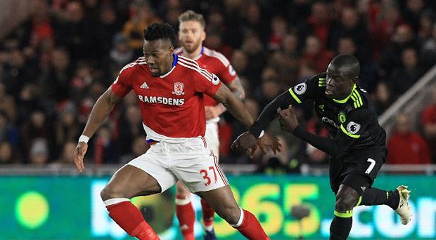Middlesbrough's Spanish midfielder Adama Traore (L) vies with Chelsea's French midfielder N'Golo Kante during the match between Middlesbrough and Cheslea at Riverside Stadium. Photo credit - LINDSEY PARNABY/AFP/Getty Images.