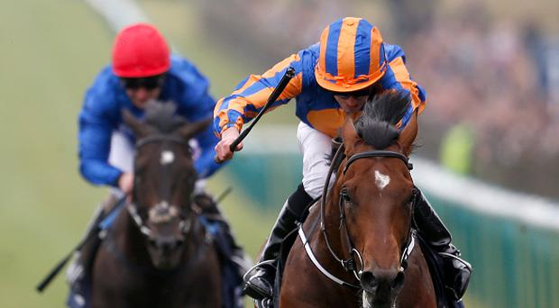 NEWMARKET, ENGLAND - MAY 06: Ryan Moore riding Churchill (R) to win The Qipco 2000 Guineas Stakes at Newmarket Racecourse on May 6, 2017 in Newmarket, England. (Photo by Alan Crowhurst/Getty Images)