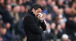 HULL, ENGLAND - MAY 06: Hull City manager Marco Silva reacts during the Premier League match between Hull City and Sunderland at KCOM Stadium on May 6, 2017 in Hull, England. (Photo by Ian MacNicol/Getty Images)