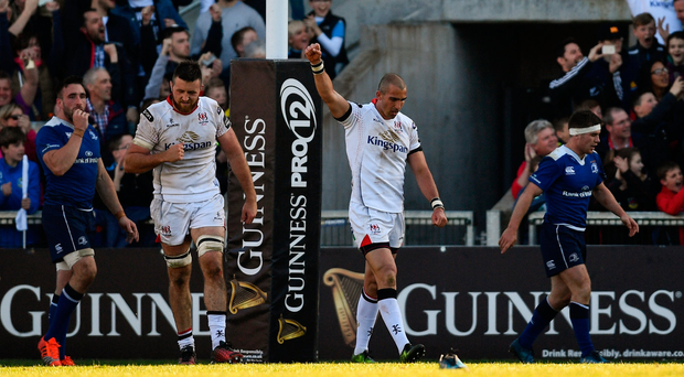 6 May 2017; Ruan Pienaar of Ulster celebrates setting up his side's second try by Andrew Trimble during the Guinness PRO12 Round 22 match between Ulster and Leinster at Kingspan Stadium in Belfast. Photo by Ramsey Cardy/Sportsfile