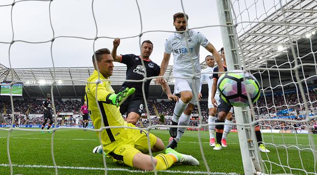 SWANSEA, WALES - MAY 06: Fernando Llorente of Swansea City scores his sides first goal during the Premier League match between Swansea City and Everton at the Liberty Stadium on May 6, 2017 in Swansea, Wales. (Photo by Dan Mullan/Getty Images)