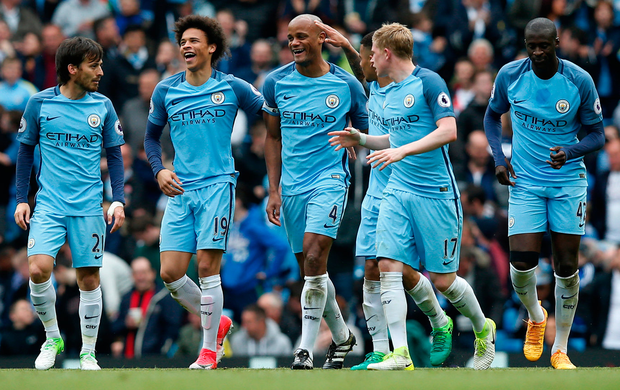 Captain Vincent Kompany celebrates scoring Manchester City's second goal against Crystal Palace. Photo: Reuters