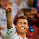 Cristiano Ronaldo celebrates after completing his hat-trick against Atletico Madrid at the Bernabeu. Photo: Reuters