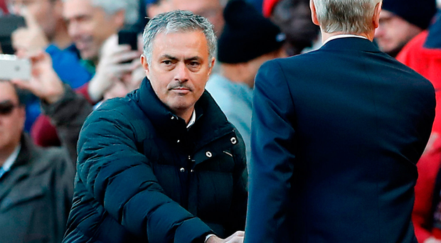 Jose Mourinho takes on Arsene Wenger once again, his oldest rival in English football. Photo: PA Wire.