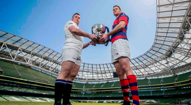 Cork Constitution's Gavin Duffy with Ben Reilly of Clontarf in the Aviva Stadium. Photo: Morgan Treacy
