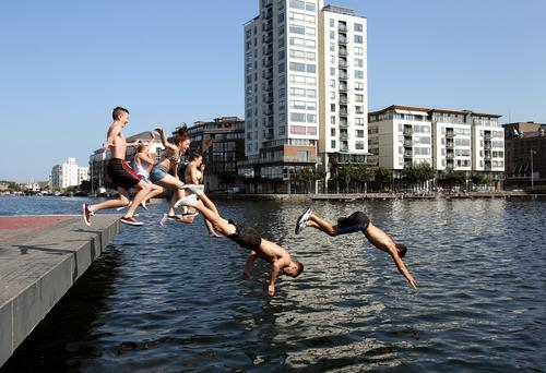 Locals having fun at Dublin's Grand Canal Dock. Photo: Tony Gavin
