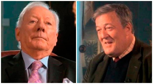 Gay Byrne and Stephen Fry during their appearance on 'The Meaning of Life'