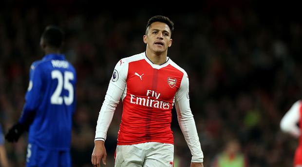 April 26th 2017, The Emirates, Arsenal, London England, EPL Premier League football, Arsenal FC versus Leicester City; Alexis Sanchez of Arsenal looks on in frustration after missing a chance to score (Photo by John Patrick Fletcher/Action Plus via Getty Images)
