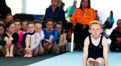 A young boy competes in the gymnastics at the Aldi Community Games Festivals. 2017 marks the Golden Jubilee of Community Games in Ireland, and over the past 50 years more than 5 million children have participated and competed across a wide range of sporting and cultural activities. On the 6th May, over 2,800 participants competed for titles in a range of different sports and activities. For more information log onto www.aldicommunitygames.ie.Photo: Leon Farrell/Photocall Ireland.