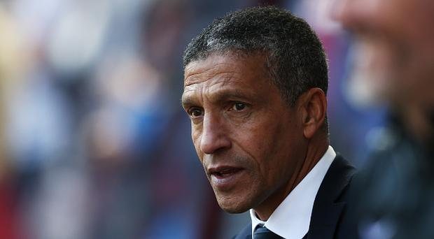 BIRMINGHAM, ENGLAND - MAY 07: Chris Hughton mamnager of Brighton and Hove Albion looks on prior to the Sky Bet Championship match between Aston Villa and Brighton & Hove Albion at Villa Park on May 7, 2017 in Birmingham, England. (Photo by Jan Kruger/Getty Images)