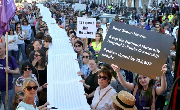 The petition with 103,607 signatures asking Minister Simon Harris to keep the new National Maternity Hospital in public ownership. Photo: Derek Speirs