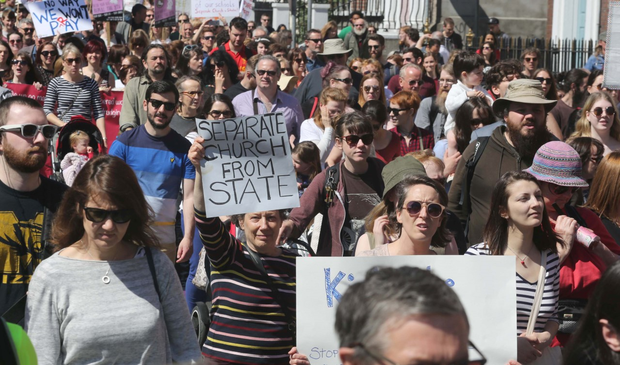 Protesters at today's march in Dublin. Photo: Derek Speirs