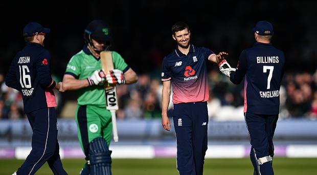 Mark Wood of England celebrates taking the wicket of William Porterfield of Ireland during the Royal London One Day International between England and Ireland at Lord's Cricket Ground on May 7, 2017 in London, England. (Photo by Dan Mullan/Getty Images)
