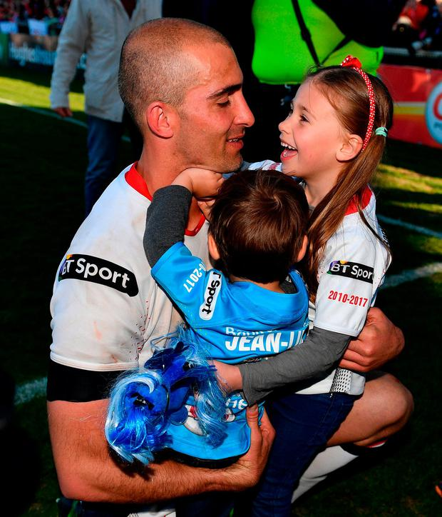 The South African with son Jean Luc and daughter Lemay following the Guinness PRO12 match against Leinster. Photo: Ramsey Cardy/Sportsfile