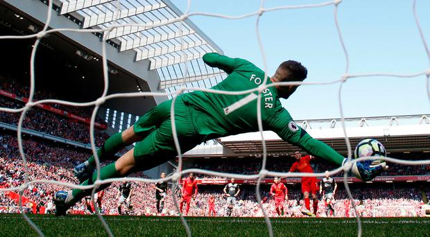 Liverpool's James Milner has his penalty saved by Southampton's Fraser Forster. Photo: Phil Noble/Reuters