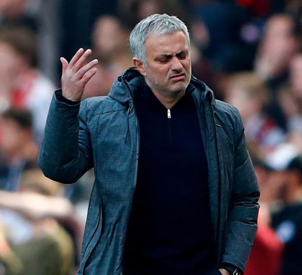 Manchester United manager Jose Mourinho resumed his favourite game of Wenger-baiting after his side lost at Emirates Stadium on Sunday. Photo: Stefan Wermuth/Reuters