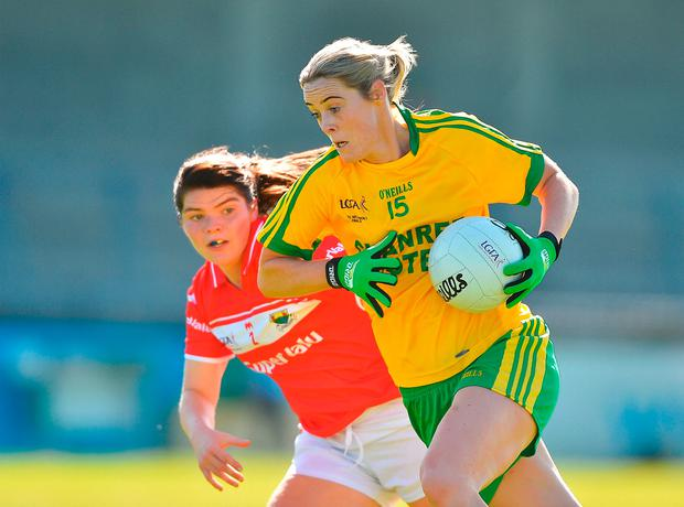 Yvonne McMonagle of Donegal in action against Marie Ambrose of Cork. Photo by David Maher/Sportsfile