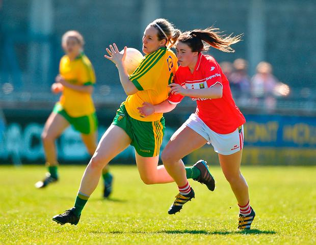 Karen Gutherie of Donegal in action against Shauna Kelly of Cork. Photo by David Maher/Sportsfile