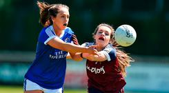 Aishling Sheridan of Cavan in action against Rachel Dillon of Westmeath. Photo by David Maher/Sportsfile
