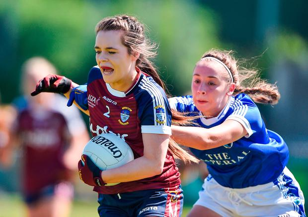 Rachel Dillon of Westmeath in action against Neasa Dyrd of Cavan. Photo by David Maher/Sportsfile