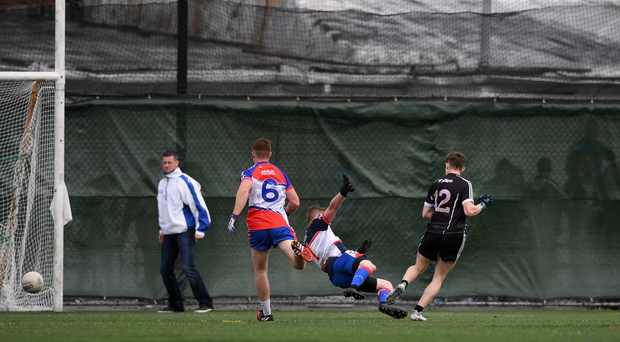 Kyle Cawley of Sligo shoots to score his side's first goal past Vinny Cadden of New York during the Connacht GAA Football Senior Championship Preliminary Round match between New York and Sligo at Gaelic Park in the Bronx borough of New York City, USA. Photo by Stephen McCarthy/Sportsfile