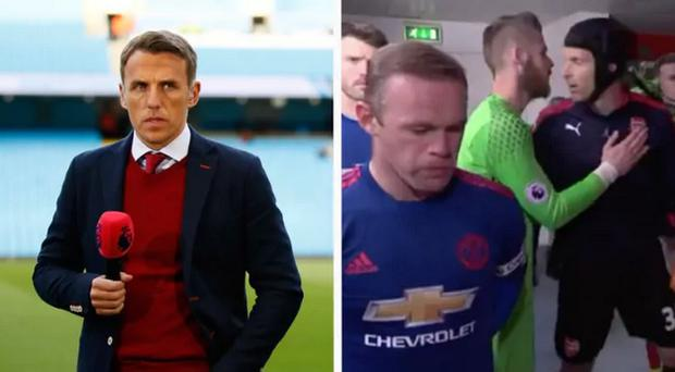 Phil Neville called the pre-match niceties a 'nonsense' CREDIT: GETTY IMAGES