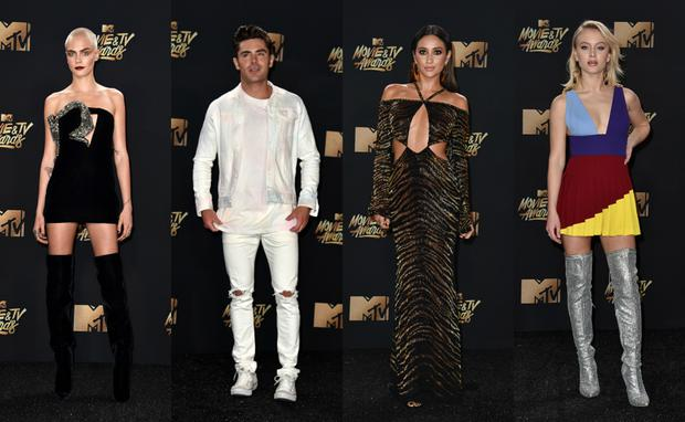 Cara Delevingne, Zac Efron, Shay Mitchell and Zara Larson at the MTV Movie Awards. Images: Getty