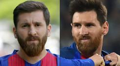 Reza Parastesh and Leo Messi - or should that be Leo Messi and Reza Parastesh? CREDIT: AFP
