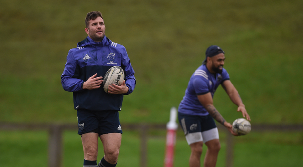 Jaco Taute and Francis Saili of Munster during squad training at the University of Limerick in Limerick. Photo by Diarmuid Greene/Sportsfile
