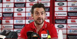 British & Irish Lions scrum half Greig Laidlaw speaks during a British and Irish Lions press conference at London Syon Park Hotel on May 8, 2017 in London, England. (Photo by Jordan Mansfield/Getty Images)