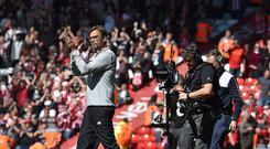 (THE SUN OUT, THE SUN ON SUNDAY OUT) Jurgen Klopp Manager of Liverpool at the end of the Premier League match between Liverpool and Southampton at Anfield on May 7, 2017 in Liverpool, England. (Photo by Andrew Powell/Liverpool FC via Getty Images)