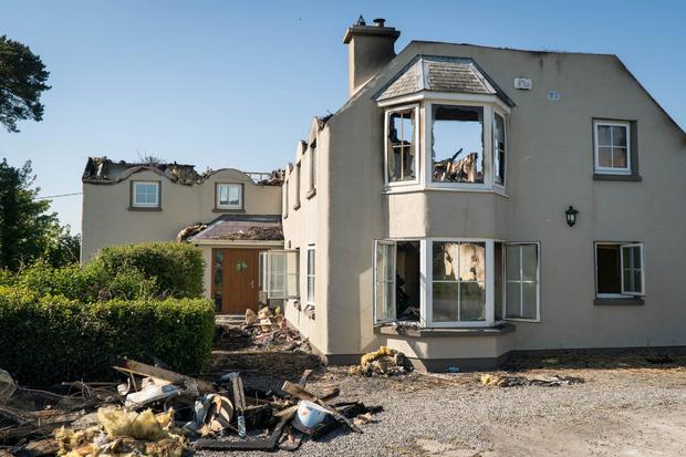 The thatch of this house caught fire and burnt down in Kiltimagh, Mayo.