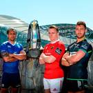 Scarlets' Ken Owens, Leinster's Isa Nacewa, Munster's Rory Scannell and Ospreys' Rhys Webb at yesterday's Guinness PRO12 semi-final launch. Photo: Sportsfile