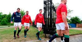 Johnny Sexton, Sean O'Brien and Peter O'Mahony walk out for a Lions photoshoot at yesterday's gathering in London. Photo credit: David Davies/PA Wire.