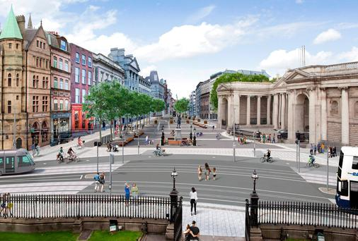 The plaza could be used for large events including concerts or civic receptions, and a two-way cyclepath will be installed on the southside, opposite the Bank of Ireland, and a turning circle for buses put in place beside Foster Place to allow them to return west on Dame Street.