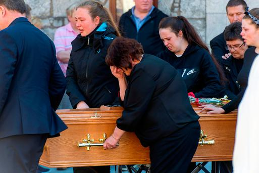 Mother Regina and sisters Gillian, Jessica and Hayley at Amy McCarthy's funeral in Cork. Photo: Michael McSweeney/Provision