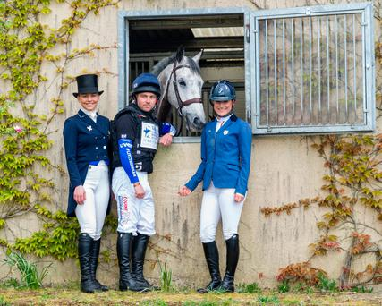 Camilla Speirs, right, at her eventing yard in Athy, Co Kildare, with Ben Hobday and Emma Carmichael to launch the Tattersalls Trials & Country Fair. Photo: Doug O'Connor