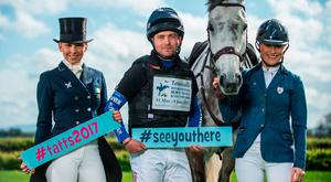 At the launch of Tattersalls International Horse Trials & Country Fair 2017 are equestrian event riders, from left, Emma Carmicheal, Ben Hobday and Camilla Speirs with BT Cloudnine. Pic: Sportsfile