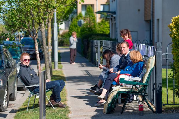 Hopeful homebuyers line up at the new development in Baldoyle. Photo: Arthur Carron
