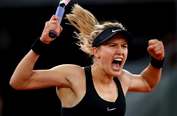 Eugenie Bouchard of Canada celebrates match point in her match against Maria Sharapova of Russia on day three of the Mutua Madrid Open tennis at La Caja Magica on May 8, 2017 in Madrid, Spain. (Photo by Clive Rose/Getty Images)