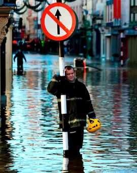Flooding in Co Cork in 2015. Photo: PA