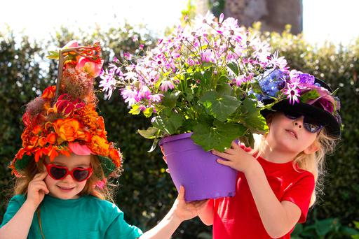 Sophie Bracken (4), from Lusk, and Lauren Keane (5), from Leopardstown, at the launch of Bloom 2017, which takes place in the Phoenix Park from June 1-5. Photo: Colm Mahady/Fennells