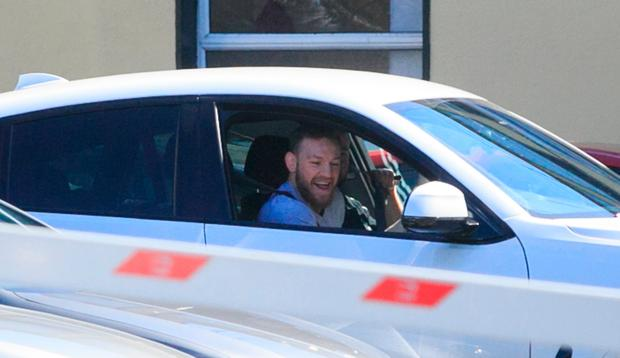 Conor McGregor at The Coombe hospital following the birth of his son. Picture: Gareth Chaney/Collins Photos