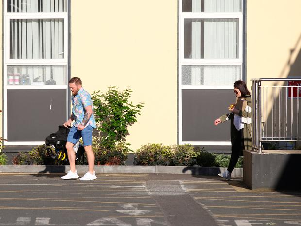 Conor McGregor and Dee Devlin leave The Coombe hospital following the birth of their son. Picture: Stephen Collins/Collins Photos