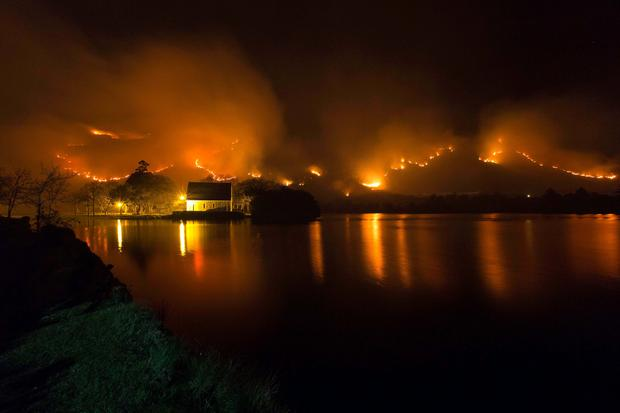 A wild fire in Co. Cork recently. Picture: John Delea.
